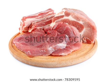 fresh raw meat big piece of steak on wooden plate