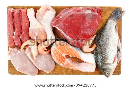 Fresh raw meat products isolated on white #394218775