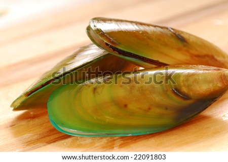 Fresh raw New Zealand green-lip mussels on a cutting board