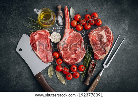 Fresh raw Prime Black Angus beef steaks. Variety of raw beef meat steaks for grilling.