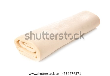 Fresh raw puff dough, isolated on white ストックフォト ©
