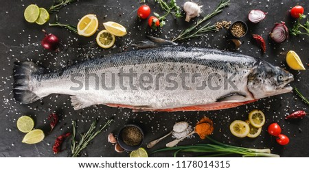Fresh raw salmon red fish with spices, lemon, pepper, rosemary on dark stone background. Creative layout made of fish, top view, flat lay