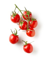 fresh raw tomatoes isolated on white background, top view