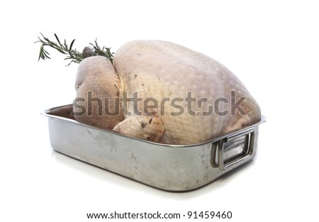 Fresh raw turkey in a roasting pan ready for the oven