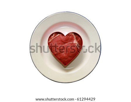 fresh raw USDA beef steak cut into a heart shaped. isolated on white