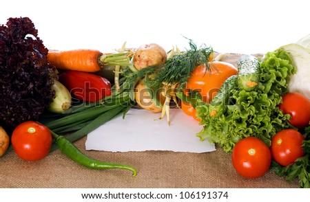 Fresh, raw vegetables on sacking