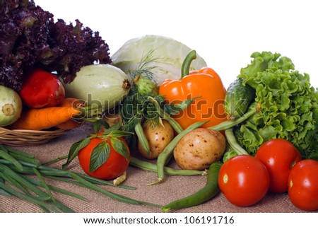Fresh, raw vegetables on sacking