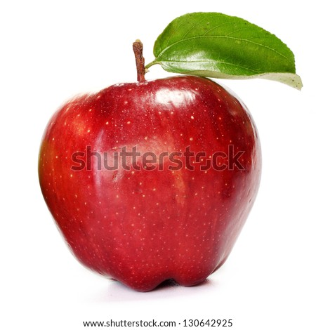 Fresh red and green apple on white background