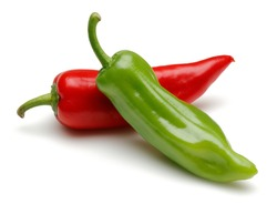Fresh red and green peppers isolated on white background