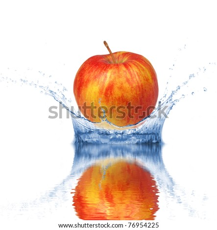 Fresh red apple dropped into water, isolated on white background