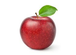 Fresh red Apple fruit with green leaf isolated on white background with clipping path.
