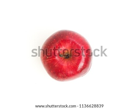 Fresh red apple isolated on white background, Fruit for healthy and  diet concept. space for word and top view picture.