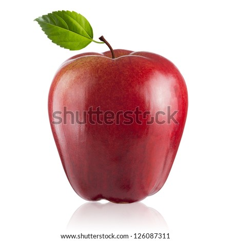 Fresh Red Apple with green leaf on white background