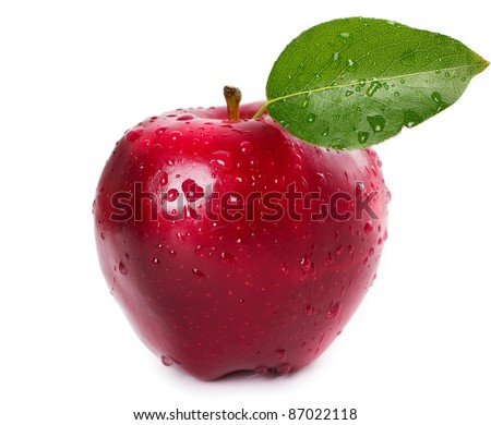 fresh red apple with leaf