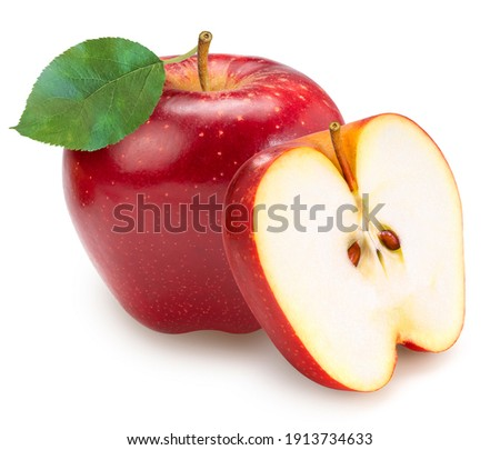 Fresh Red Apple with leaves isolated on white background, Red Royal Gala apple on white background With clipping path.