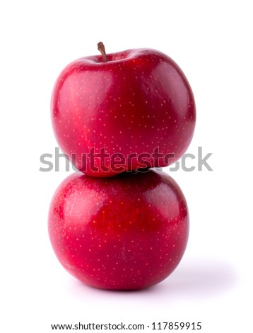 Fresh red apples isolated on white background