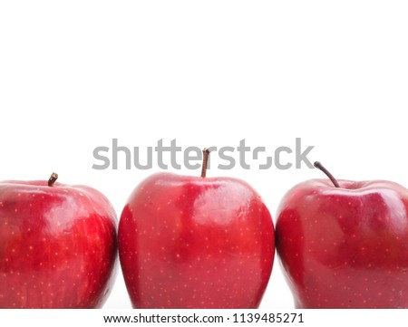 Fresh red apples isolated on white background, Fruit for healthy and diet concept. space for word and focus picture.