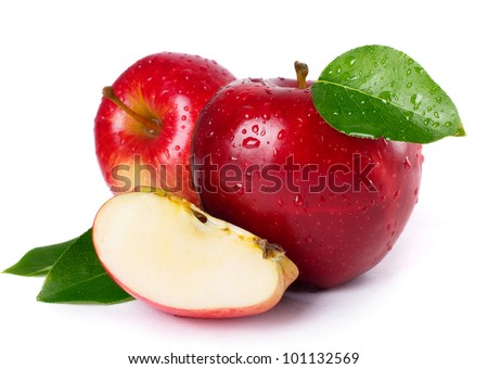 fresh red apples with leaves isolated on white background