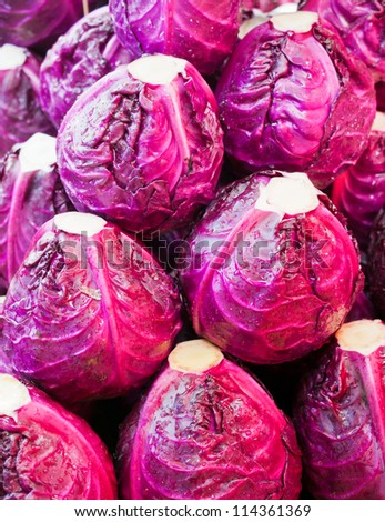 fresh red cabbage stack for sale - stock photo