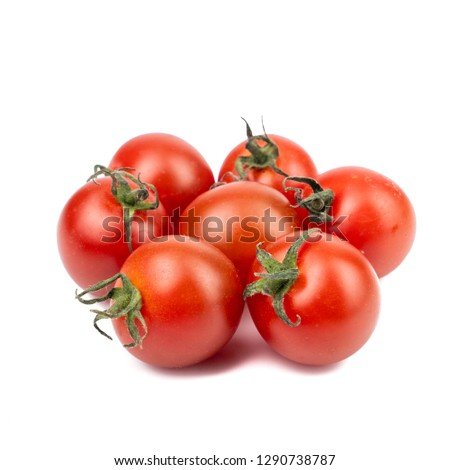 Fresh Red Cherry tomato or sweet girl (Solanum lycopersicum var. cerasiforme) isolated on white background #1290738787