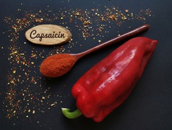 Fresh red chili pepper and chili powder in wooden spoon with the inscription Capsaicin. Capsaicin is the compound found in chili peppers that gives them their hot, spicy kick.