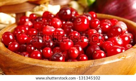 Fresh red cranberries - stock photo