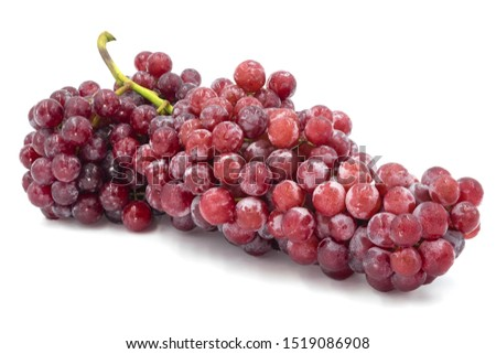 Fresh red grapes large bunch isolated with water drop on white background with clipping path. #1519086908