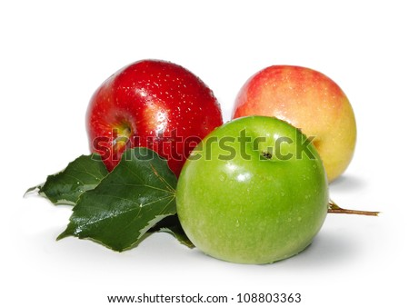 Fresh Red, green and yellow apples with leaves