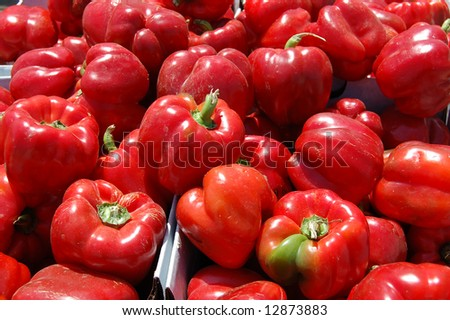 Fresh red peppers - stock photo