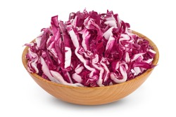 Fresh red radicchio salad in wooden bowl isolated on white background with clipping path and full depth of field