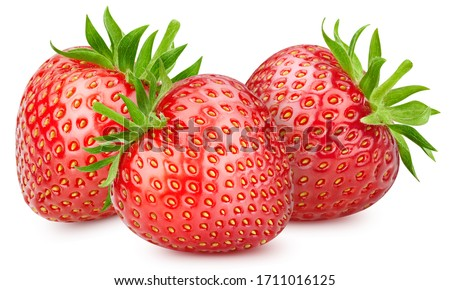 Fresh red ripe strawberries isolated on white background. Strawberries with clipping path