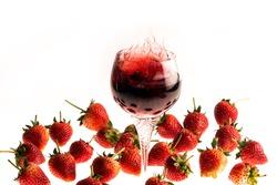 fresh red strawberry wine