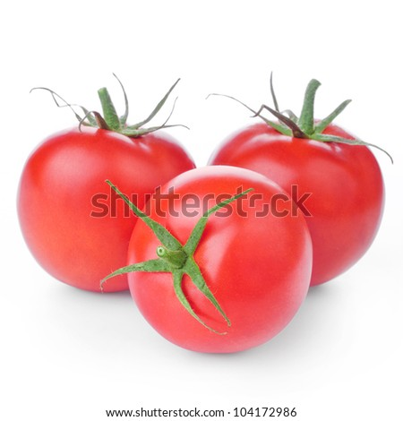fresh red tomatoes with green leaf isolated on white background