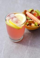 Fresh rhubarb lemonode with lemon.