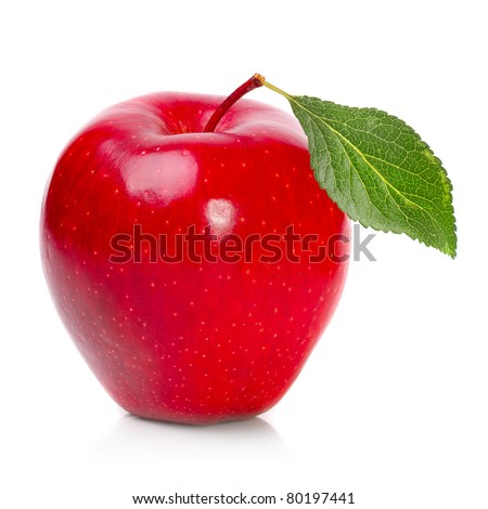 Fresh ripe apple on a white background.