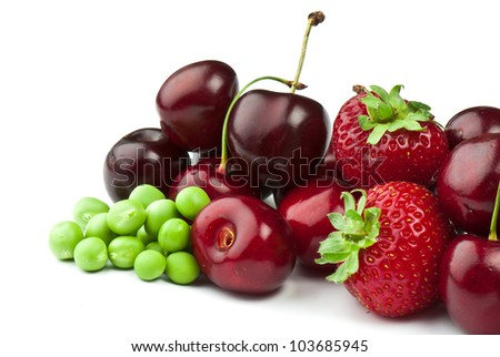 fresh ripe Berries photographed closeup isolated on a white background.