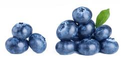 Fresh ripe blueberries isolated on white background