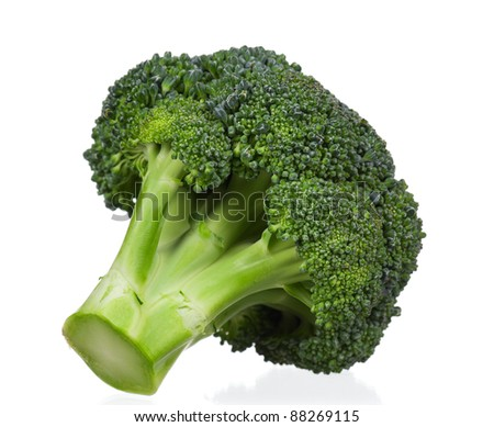 Fresh ripe broccoli piece on white background