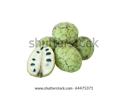 Fresh ripe cherimoya in isolated over white background