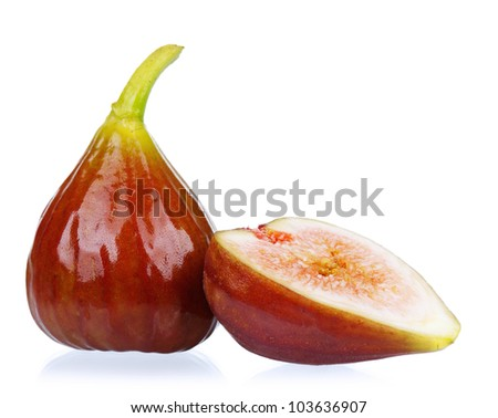 Fresh ripe figs isolated on a white background
