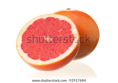Fresh ripe half grapefruit on white background