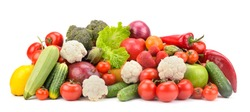 Fresh ripe healthy fruits and vegetables isolated on white background.