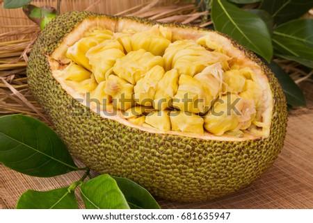 Fresh ripe jackfruit. Fresh sweet jackfruit segment ready for eat. Cutting jackfruit. Fresh sweet Jackfruit segment ready for eat. Tropical fruit. Selective focus.