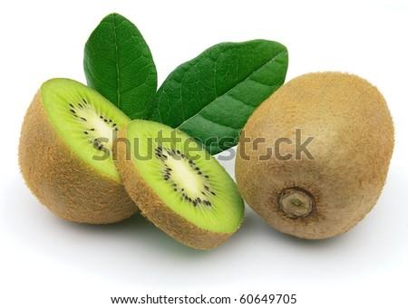 Fresh ripe kiwi on a white background