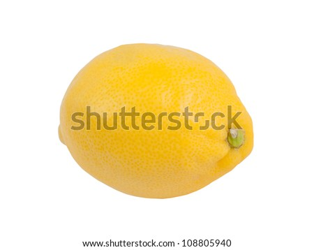 Fresh ripe lemon, closeup, isolated on white background