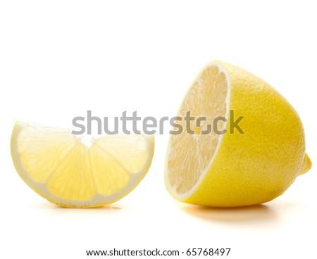 Fresh ripe lemon. Isolated on white background