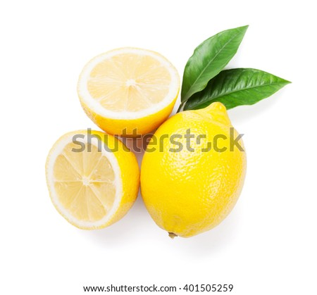 Shutterstock Fresh ripe lemons. Isolated on white background. Top view