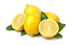 Fresh ripe lemons. Isolated on white background. with clipping path
