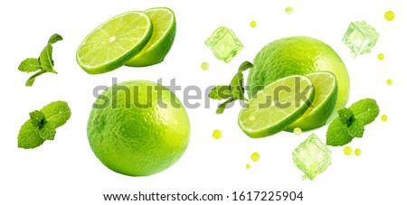 Photo of  Fresh ripe lime fruit, whole, half cut, lime slices, mint leaves, ice cubes set isolated. Juicy lime mojito cocktail drink clipart ads design elements, studio shot focus stacking on white background