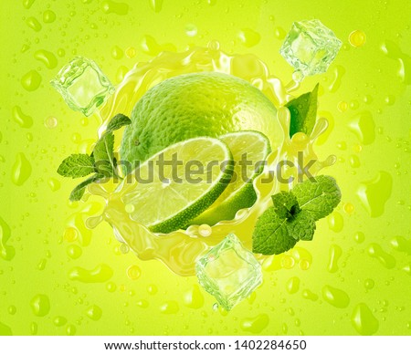 Fresh ripe lime, lime slice, mint, ice and juice splash wave on drops background. Tropical juicy lime fruit juice ice drink splashing label for juice, mojito cocktail, smoothie ad. Clipping path. 3D